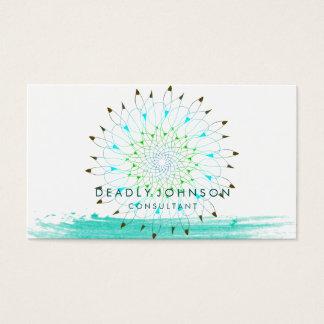 Watercolor Floral Simple Splatter Teal  Nature Business Card