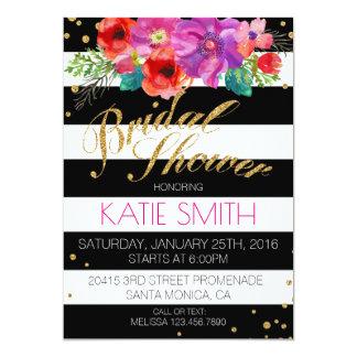 Watercolor Floral Stripe Glitter Bridal Shower Card