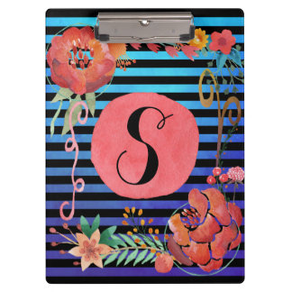 Watercolor Floral Striped Monogram Clipboard
