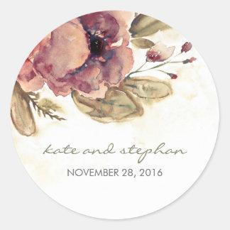 Watercolor Floral Vintage Wedding Round Sticker