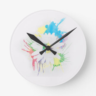 Watercolor Flower Silhouette Wall Clock