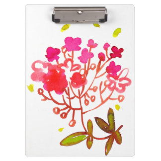 Watercolor flowers clipboard