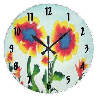 Watercolor Flowers Large Clock