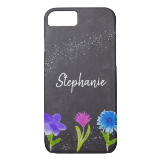 Watercolor Flowers on Chalkboard Case-Mate iPhone Case
