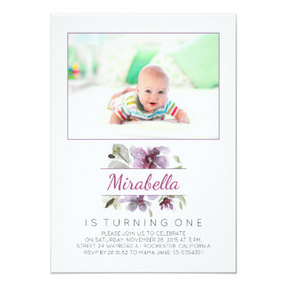Watercolor Flowers Photo 1st Birthday Party 13 Cm X 18 Cm Invitation Card