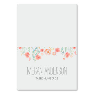 Watercolor Flowers Place Cards Table Cards
