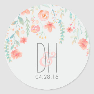 Watercolor Flowers Romantic Wedding Round Sticker