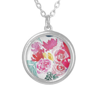 Watercolor Flowers Silver Plated Necklace