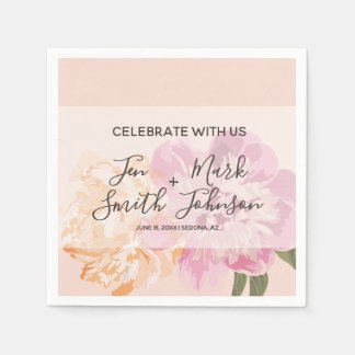 Watercolor Flowers. Spring Wedding Party. Disposable Napkin