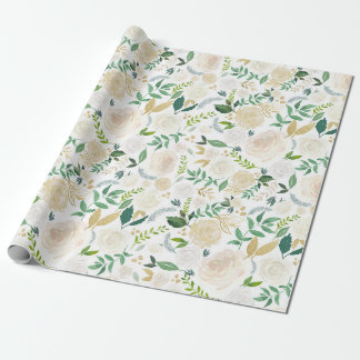 Watercolor Flowers with Faux Gold Glitter and Foil Wrapping Paper