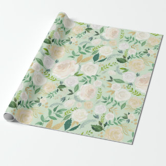 Watercolor Flowers with Faux Gold Glitter & Foil I Wrapping Paper
