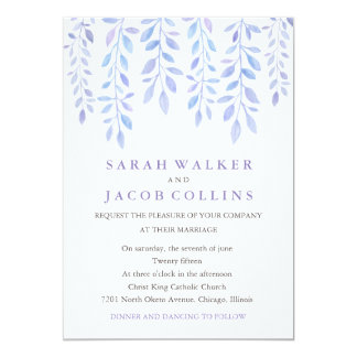 Watercolor Foliage - Lilac Wedding Invitation