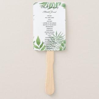 Watercolor Foliage Wedding Program Hand Fan
