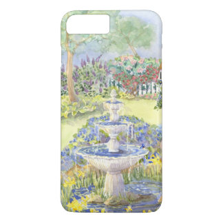 Watercolor Fountain Pond w Picket Fence Flowers iPhone 7 Plus Case