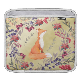 Watercolor Fox Winter Berries Gold iPad Sleeve