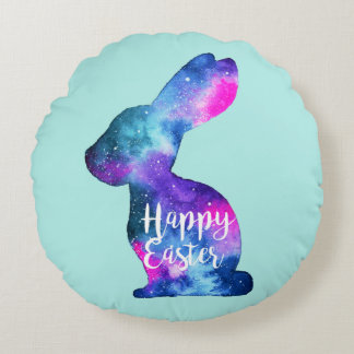 Watercolor Galaxy Rabbit Easter Round Cushion