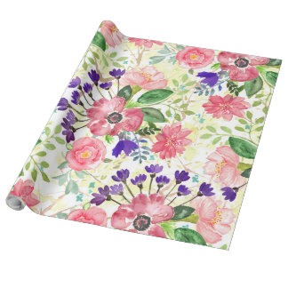 Watercolor garden flowers wrapping paper