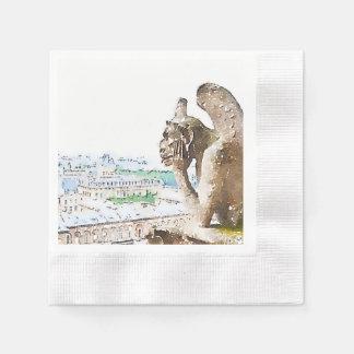Watercolor Gargoyle of Notre Dame Disposable Serviettes
