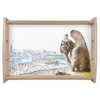 Watercolor Gargoyle of Notre Dame Serving Tray