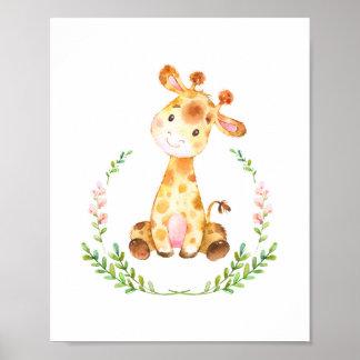 Watercolor Giraffe Nursery Art Print