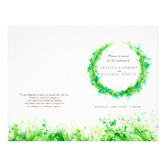 Watercolor greenery wreath wedding programme
