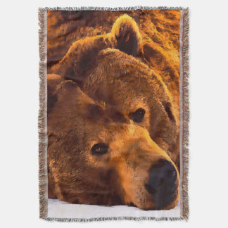 Watercolor Grizzly Bear Throw Blanket