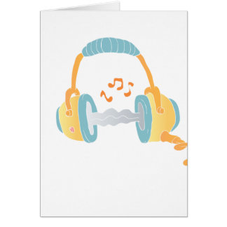 watercolor headphone. card
