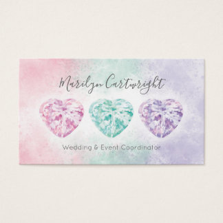 Watercolor Heart Gems Pastel Business Cards