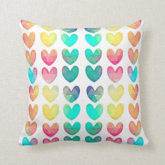 Watercolor Hearts Pillow Throw Cushion