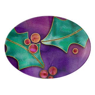 Watercolor Holly Berries Purple Green Red Holiday Porcelain Serving Platter