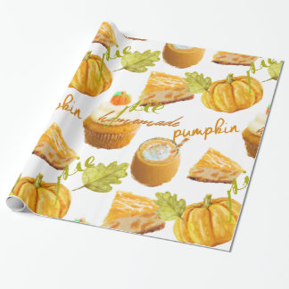 Watercolor Homemade Pumpkin Pie & Treats Wrapping Paper
