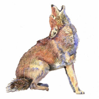 Watercolor Howling Coyote, Animal, Nature Wildlife Standing Photo Sculpture