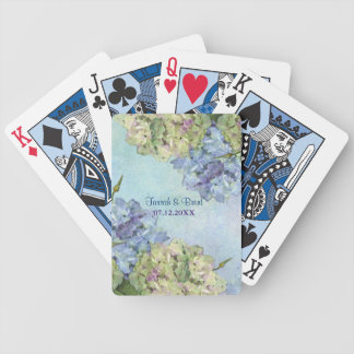 Watercolor Hydrangea Floral Wedding Bicycle Playing Cards