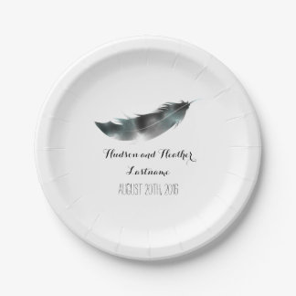 Watercolor Inspired Black Feather Wedding 7 Inch Paper Plate