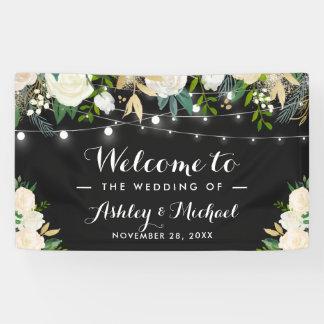 Watercolor Ivory Floral String Lights Wedding Banner