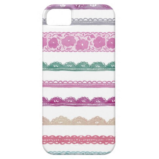 Watercolor Lace Ribbon Girly Rainbow Painted Cover For iPhone 5/5S
