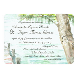 Watercolor Lake and Carved Tree Heart 13 Cm X 18 Cm Invitation Card