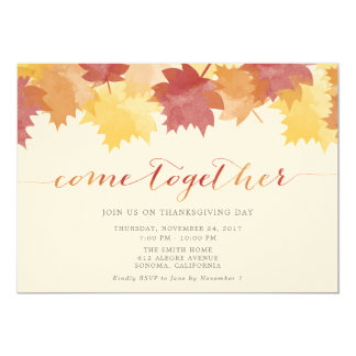 Watercolor Leaves Thanksgiving Party Invite