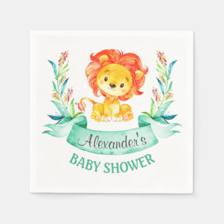 Watercolor Lion Baby Shower Disposable Napkin
