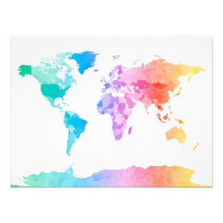 Watercolor Map of the World Map Photo Art