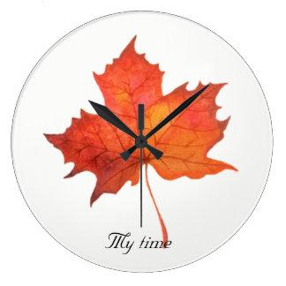 Watercolor Maple Leaf Large Clock