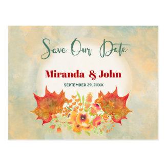 Watercolor Maple Leaves Save the date Postcard