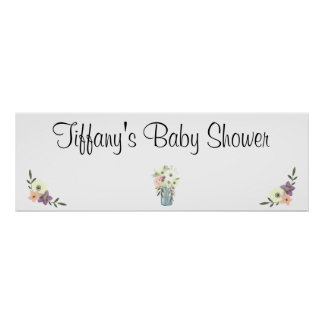Watercolor Mason Jar Floral Baby Shower Banner Poster