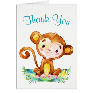Watercolor Monkey Boy Thank You Card