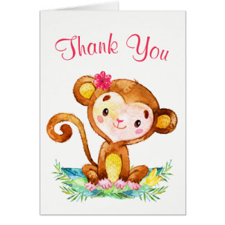 Watercolor Monkey Girl Thank You Card