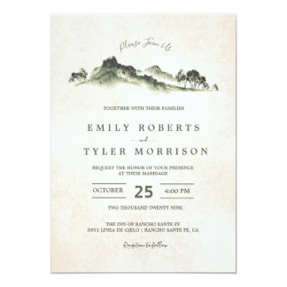 Watercolor Mountain Woodland Forest Wedding Invite