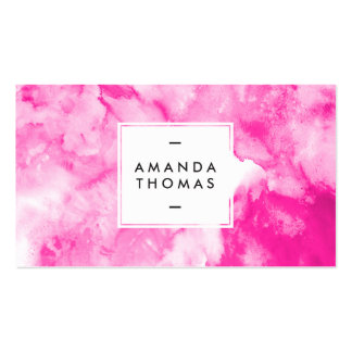 Watercolor neon pink abstract modern artistic cool pack of standard business cards