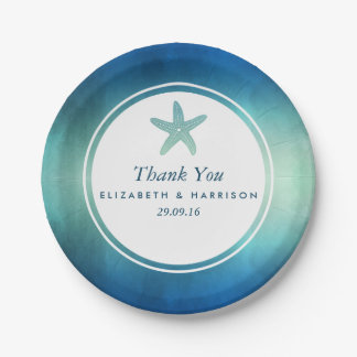 Watercolor Ocean Starfish Beach Wedding Paper Plate