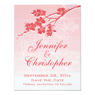 Watercolor Ombre Red Spring Blossom Save the Date Card