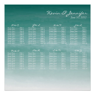 Watercolor Ombre Wedding Seating Chart Poster